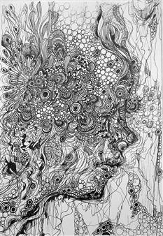 Kaoru Kushima - Profile Ⅱ Pen on Paper, Drawings