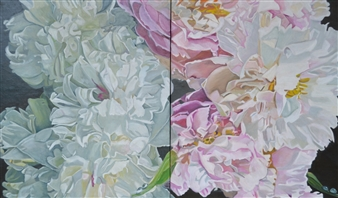 Helena McConochie - Waterdrops on Peonies 'Patricia' and 'Millie' Oil on Canvas, Paintings