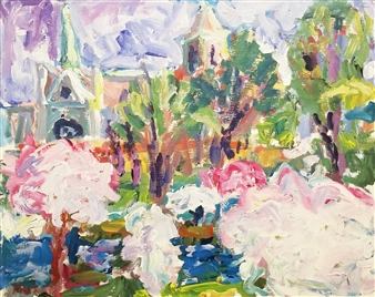 Susan Marx - Late Afternoon Cathedral + Cherry Trees Acrylic on Masonite, Paintings