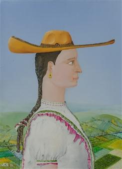Jorge Garcia-Sainz - La Charra Oil on Canvas, Paintings