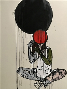 Nick Bautista - This Is Always (no. 2/5) Acrylic, Clandestine Ink and Charcoal on Raw Canvas, Paintings