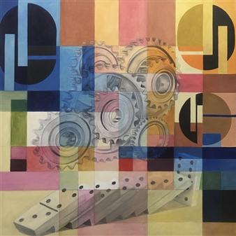 Don Kosta - Domino Acrylic on Canvas, Paintings