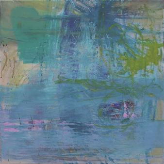 Gerlinde Amei Wöllmer - Rainy Sunday Acrylic & Chalk on Canvas, Mixed Media