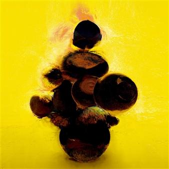 Javier Rivas - Girasoles Negros Digital Work on Wood, Digital Art