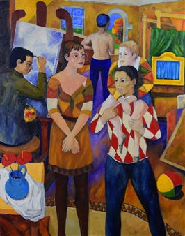Stefano Puleo - The Painter and the Family of Arlecchino Oil on Linen, Paintings