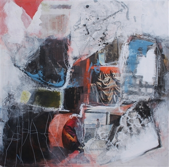 Emmanuelle Auzias - Opening the Window Acrylic & Mixed Media on Board, Mixed Media
