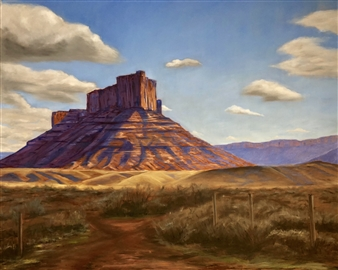John Britton - Butte in Moab Oil on Canvas, Paintings