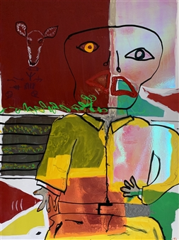Hap Garrett - Good and Evil Acrylic on Vinyl Signage, Paintings