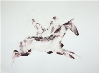 Kate Walters - Horse Carrrying Twin Souls Watercolor on Paper, Paintings