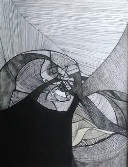 Craig Freeman - Tulips Pen, Ink and Fabric, Mixed Media