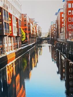 Claudia Breidenbach - Harbour City Hamburg Acrylic & Photograph on Canvas, Mixed Media