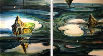 Kenji Inoue - One Baby Oil on Canvas, diptych, Paintings