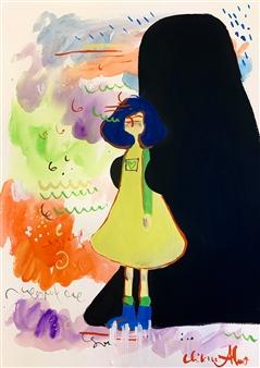 Milana Alaro - Yellow Gouche on Paper, Paintings
