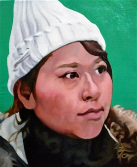 Takumi Kata (TAKU) - Woman in White Knit Hat Oil on Canvas, Paintings