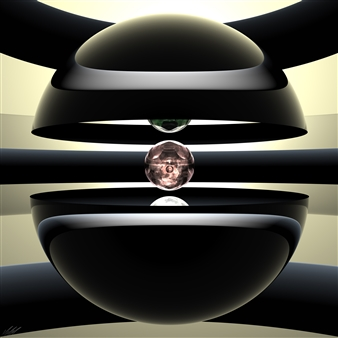 Michai Morin - Nucleon 1b - UHD Print on Acrylic Glass Panel, Digital Art