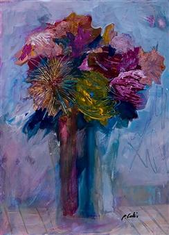 Pauline Rakis - Those Big Blooms Acrylic on Canvas, Paintings