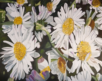 Helena McConochie - Waterdrops on Daisies 'Fler' Oil on Canvas, Paintings