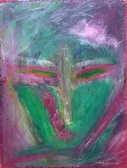 claracarat - The Green Unknown Acrylic on Black Plexiglass, Paintings