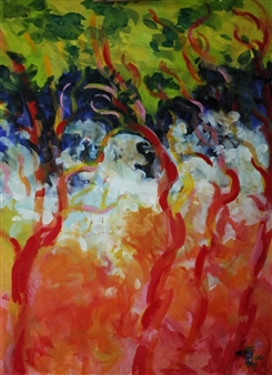 Eric Raffy - Arbres 2 Acrylic on Canvas, Paintings