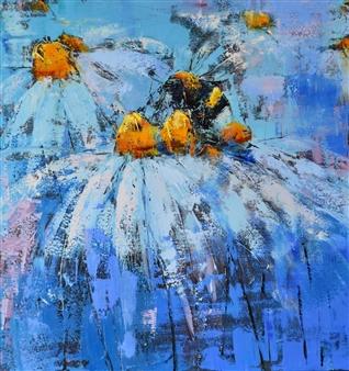 Olena Bogatska - Daisies Oil on Canvas, Paintings