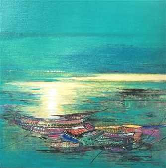 Madhuri Bhaduri - Seascapes 1 Oil on Canvas, Paintings
