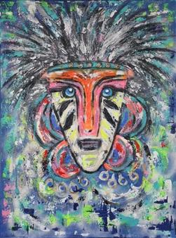 Lisa Gehres - Mask Off Acrylic & Spraypaint on Canvas, Paintings