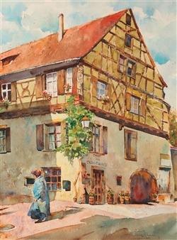 Eduardo Blanco - La Alsacia (Alsace) Watercolor on Paper, Paintings