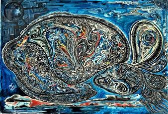 Pitanius - Midnight Dream Gouache & Ink on Paper, Paintings