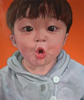 Takumi Kata (TAKU) - Wow! (Surprised Boy) Oil on Canvas, Paintings