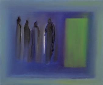 María de Echevarría - The Door #3 Oil over Acrylic on Canvas, Paintings