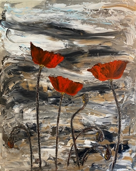 David Lionheart - Poppies 2 Acrylic on Canvas, Paintings