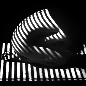 Moving Elephant by Mark - Stripes Silver Gelatin Print, Photography