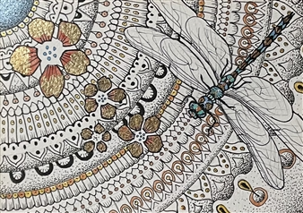John Britton - Dragonfly and Mandala Ink & Gold Leaf on Paper, Paintings