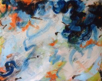 Ayesha Samdani - White Strokes Oil on Canvas, Paintings