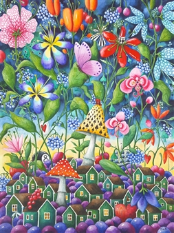 Josefina Wendel Carlsson - Kat´s Garden Watercolor on Paper, Paintings