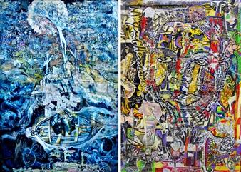 Elena Gastón Nicolás - La Historia Jamás Contada. Never Told Story. Gólgota's Dreams (Side A) | Me Queda la Palabra (Side B) Mixed Media on Wood, Mixed Media