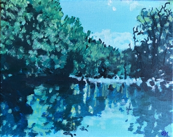 Gabriella Mirabelli - Silver Lake Croton River Acrylic on Canvas, Paintings