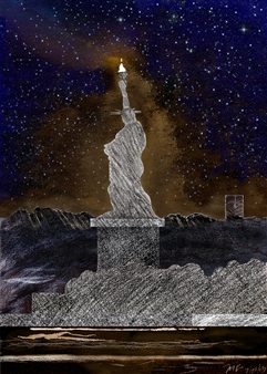 Michael Victor ▪ MVR - The Landscape of 21C Lady Liberty_ For Whites with Blacks (triptych) Hard Pastels with Multi-media, Prints
