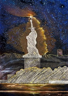 Michael Victor ▪ MVR - The Landscape of 21C Lady Liberty_ For Whites and Blacks (triptych) Hard Pastels with Multi-media, Prints