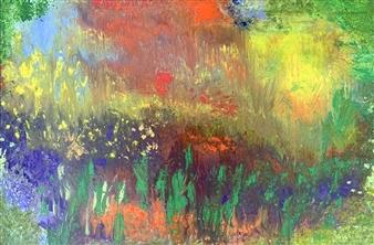 Jodi DeCrenza - The English Garden Oil on Canvas, Paintings