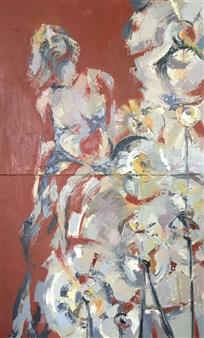 Cristina Prieto Crespi - Mínima Existencia Oil on Canvas, diptych, Paintings