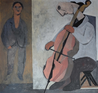 Khac Cuong Le - A Cellist Oil and Gouache on Canvas, Paintings