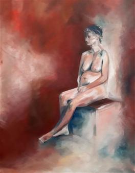 Elisabeth López - Resting Oil on Canvas, Paintings