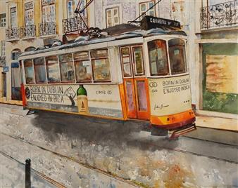 Eduardo Blanco - Tranvía de Lisboa (Tram in Lisbon) Watercolor on Paper, Paintings