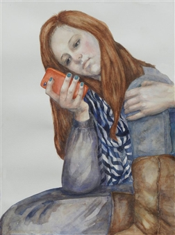 Pauli Zmolek - Girl with Cell Phone Watercolor on Paper, Paintings