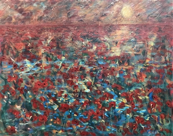 Mushegh Grigoryan - Poppies Acrylic on Canvas, Paintings
