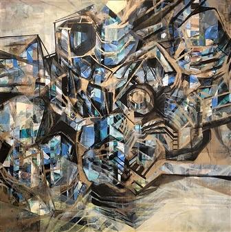 Maggie G. Moran - Left Brain Mixed Media on Canvas, Mixed Media