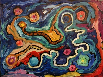 Ed Belbruno - Electric Trajectory 2 Oil on Canvas, Paintings