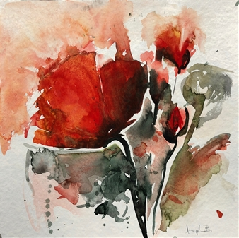 Angela Blattner - Poppy Flowers 3 Watercolor on Paper, Paintings