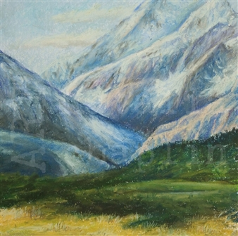 Natalia Chaplin - Mt. Cook Pastel on Paper, Paintings